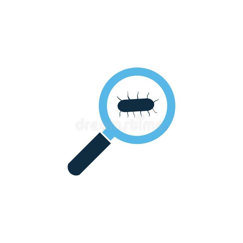 infezione virale del germe, micro batteri sotto una lente d'ingrandimento Illustrazione di vettore isolata su priorità bassa bian illustrazione vettoriale