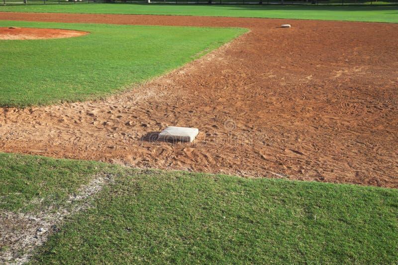 Infield di baseball della gioventù dal lato della prima base il giorno soleggiato immagini stock