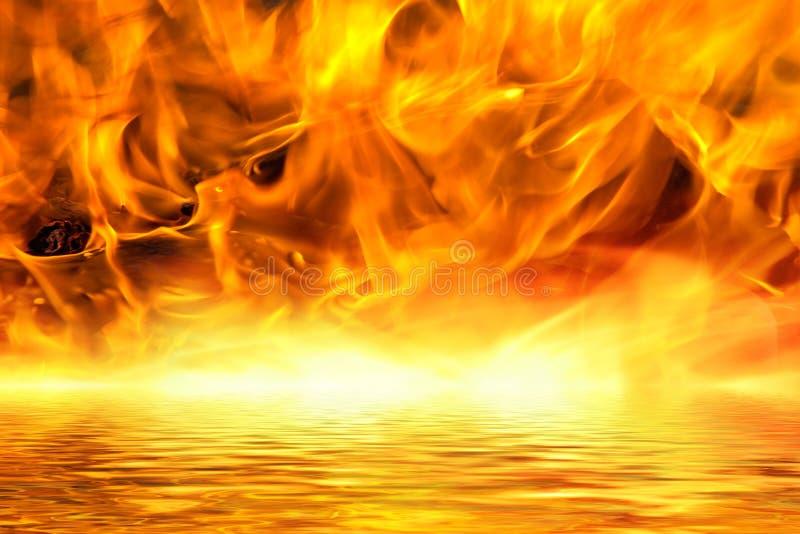Infierno que rabia en un lago de la lava ilustración del vector