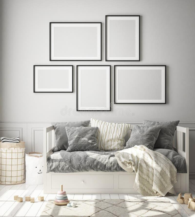 Infilare la cornice del poster nella camera da letto dei bambini, sfondo interno stile scandinavo, rendering 3D royalty illustrazione gratis