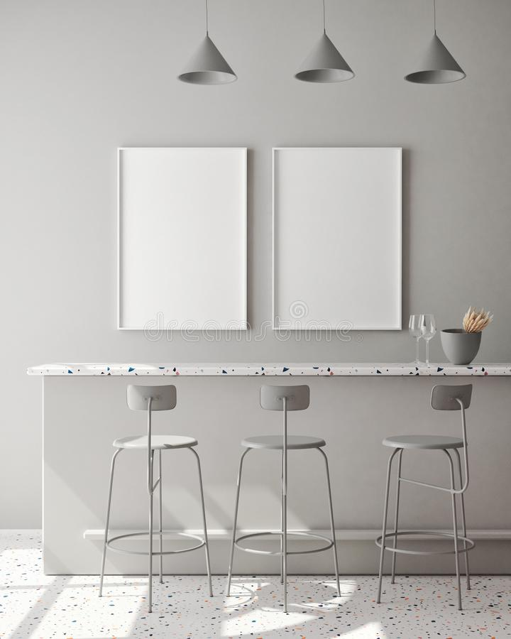 Infilare la cornice del poster su uno sfondo monocromatico moderno, in soggiorno, stile scandinavo, rendering 3D, illustrazione 3 illustrazione di stock