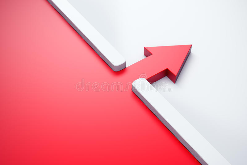 Infiltration Of A Red Arrow Outside Stock Photo