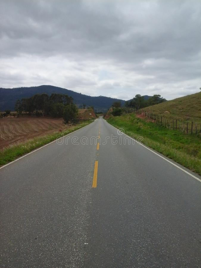 Infinite highway. In Minas Gerais, Brazil royalty free stock images