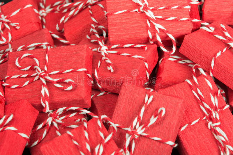 Infinite mountain of red gift boxes royalty free stock photos