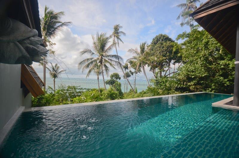 Infinite pool villa resort stock photos