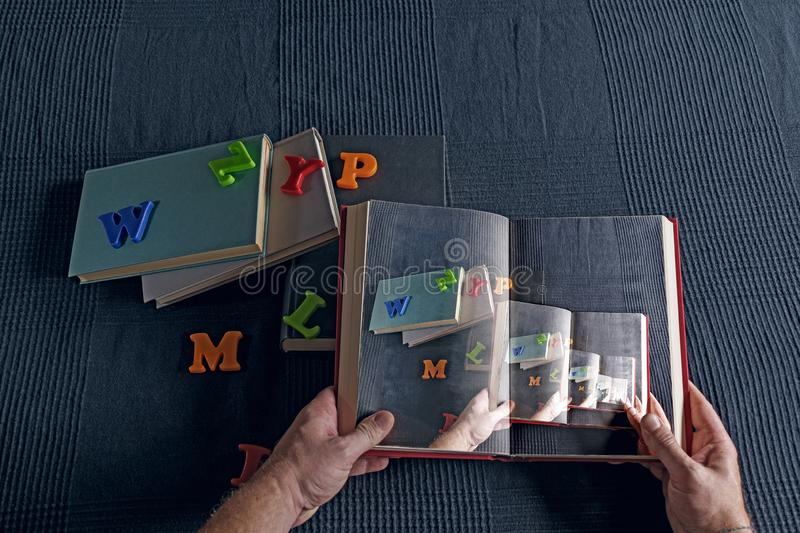Infinite Reading. Abstract reflection of the infinite possibilities of reading stock images