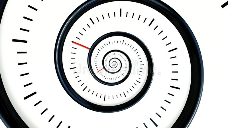 Infinite Time. Infinite rotating clock background. Black and white watch background royalty free illustration