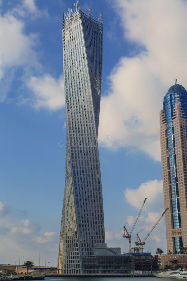 Infinite tower in Dubai. Detail of the Infinite tower in Dubai. Cayan Tower, known as Infinity Tower is a 306 metres, 80 story skyscraper in Dubai, United Arab stock photo