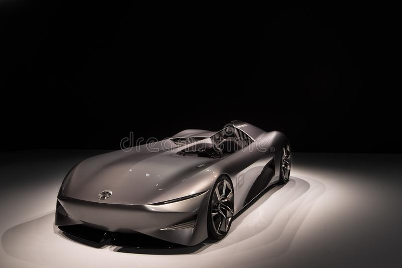 Infiniti Prototype 10 Concept. DETROIT, MI/USA - JANUARY 14, 2019: Infiniti Prototype 10 single-seat electric roadster concept car, at the North American royalty free stock photos