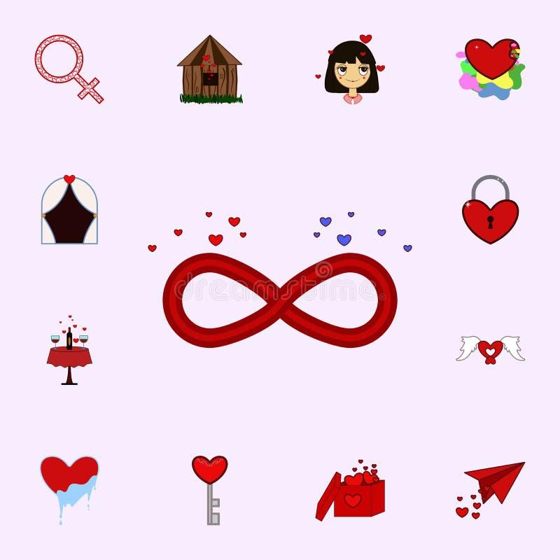 Infinito, amor, símbolo, icono del día de la tarjeta del día de San Valentín s Ame el sistema universal de los iconos para el web ilustración del vector