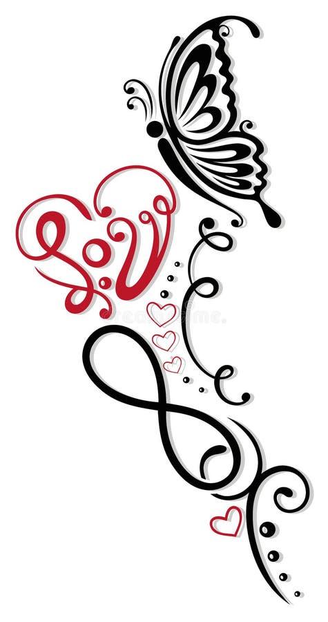 Infinito, corazón, mariposa ilustración del vector