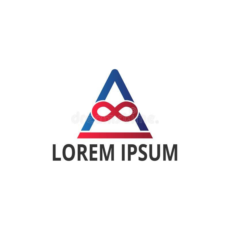 Infinito del ejemplo del vector y diseño moderno del logotipo del icono del triángulo stock de ilustración