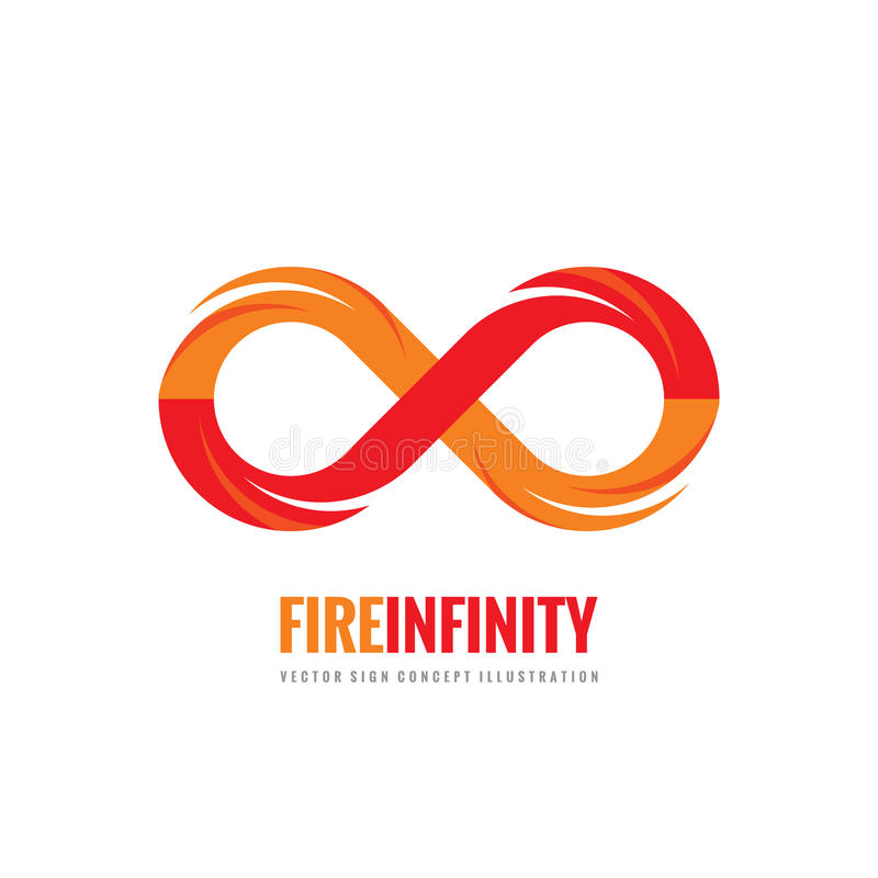 Infinito - ejemplo del concepto de la plantilla del logotipo del vector en estilo plano Muestra creativa del fuego de la forma ab ilustración del vector