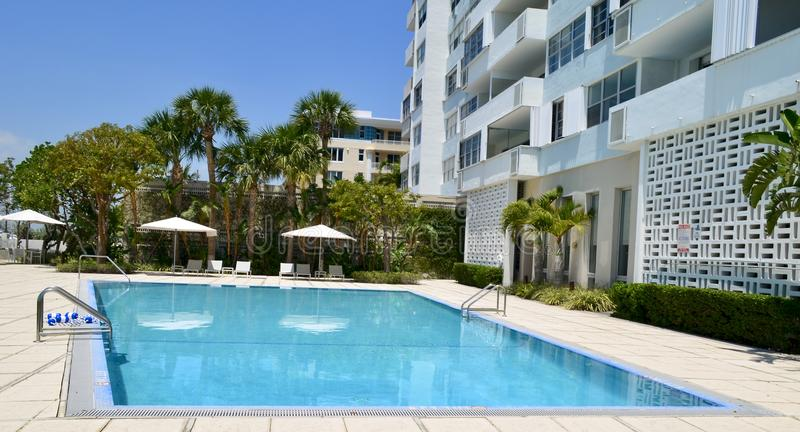 Infinity Condominium Swimming Pool in Miami Beach,Florida. An infinity swimming pool at a condominium in the sosuthbeach section of Miami Beach,Florida stock images
