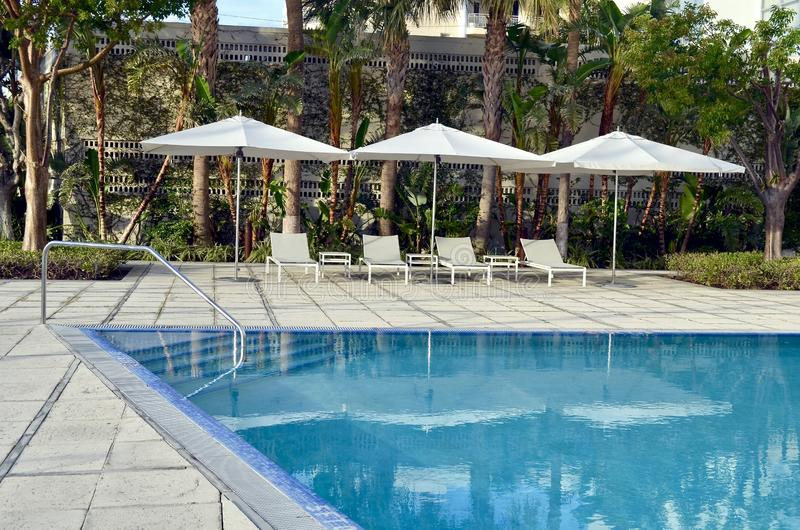 Infinity Condominium Swimming Pool in Miami Beach,Florida. An infinity swimming pool at a condominium in the sosuthbeach section of Miami Beach,Florida stock photo