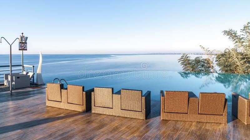 Infinity Edge Swimming Pool Water, Beautiful Black Sea View ...