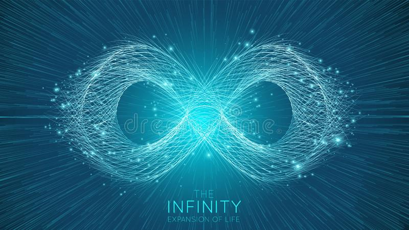 Infinity expansion of life. Vector infinity sign explosion background. Small particles strive out of center. Blurred. Debrises into rays or lines under high stock illustration