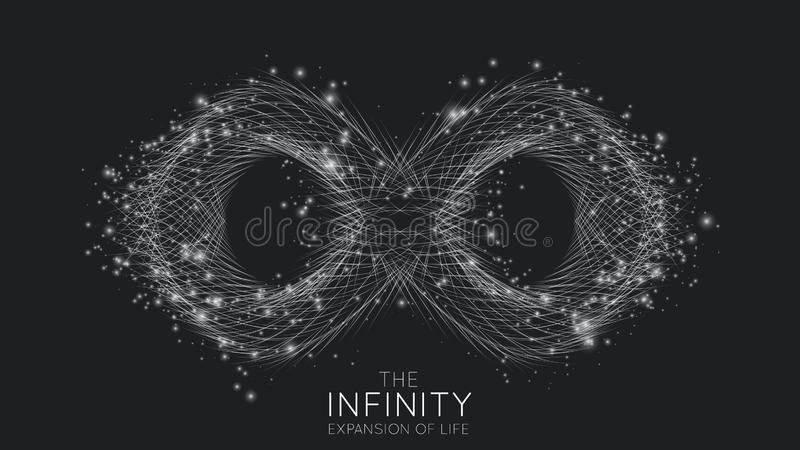 Infinity expansion of life. Vector infinity sign explosion background. Small particles strive out of center. Blurred. Debrises into rays or lines under high vector illustration