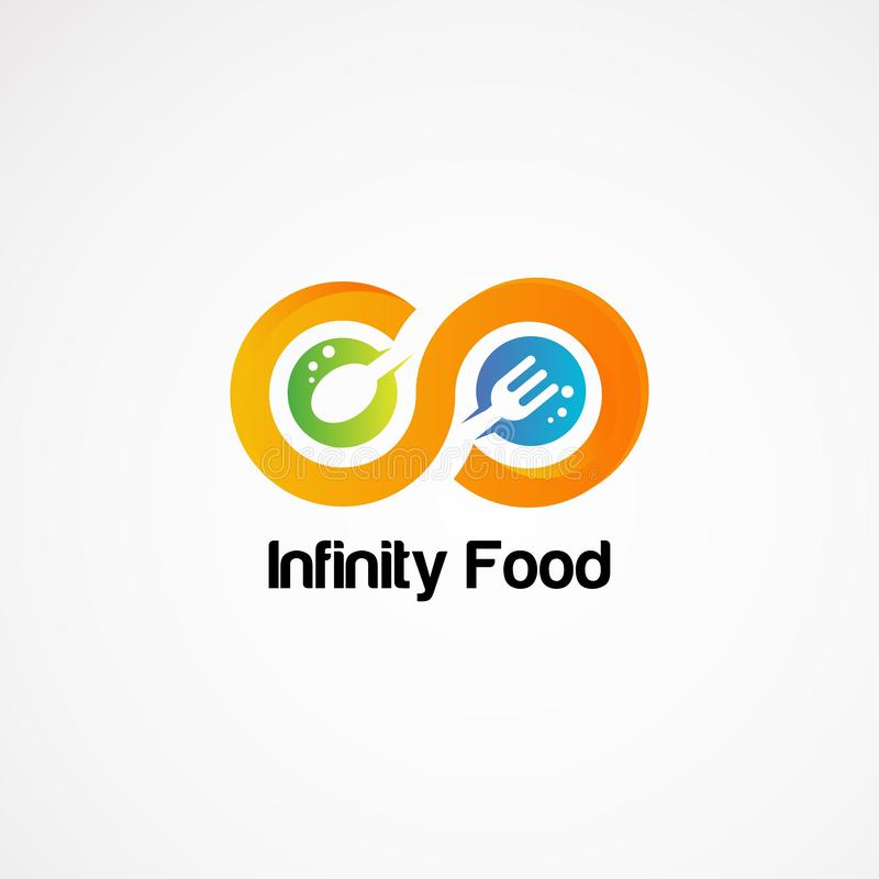 Infinity food with spoon and fork logo designs concept.  stock illustration
