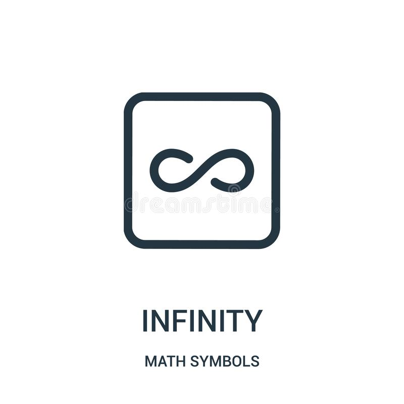 infinity icon vector from math symbols collection. Thin line infinity outline icon vector illustration royalty free illustration