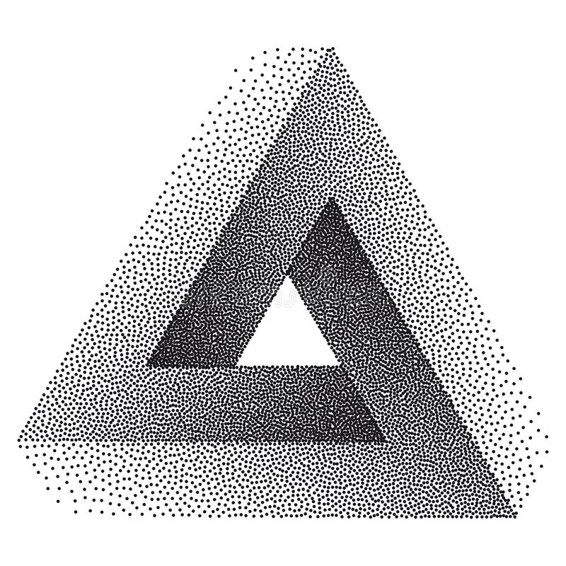 Infinity or Impossible Triangle. Penrose triangle with Black Dots. Unreal geometrical symbol for Your Business project. Pointillism. Vector Dotwork royalty free illustration