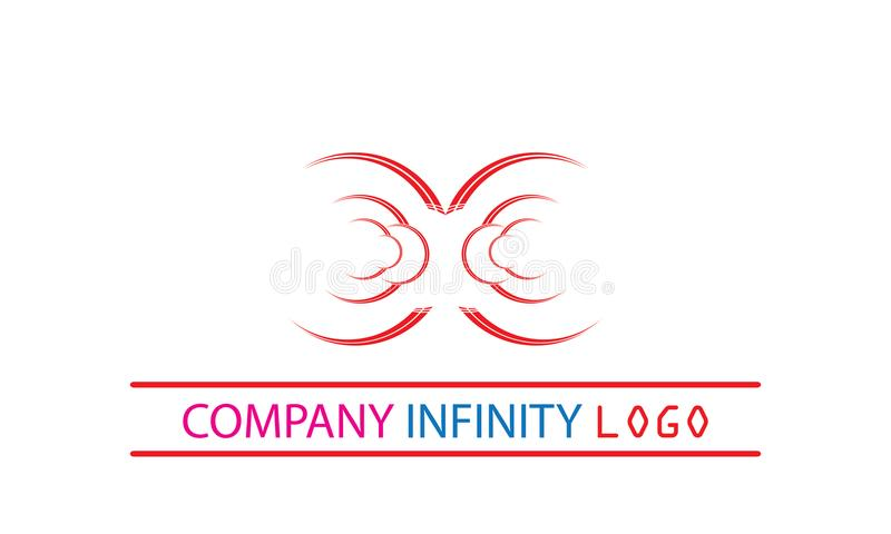 Infinity Logo Template - Rounded Red Infinity Icon Infinity Circular Sign stock illustration