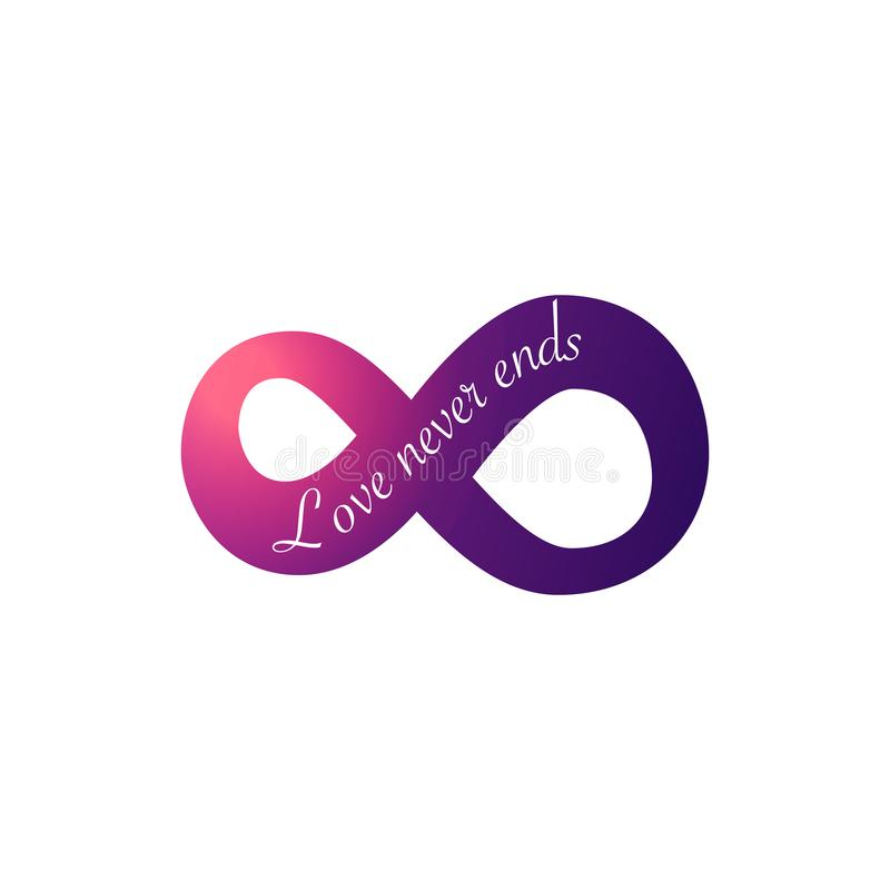 Infinity love symbol. Love never ends. text for invitation and greeting card for Valentines Day. Vector illustration isolated on stock illustration