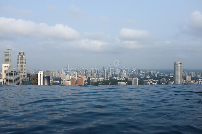Infinity Pool over Singapore stock photography