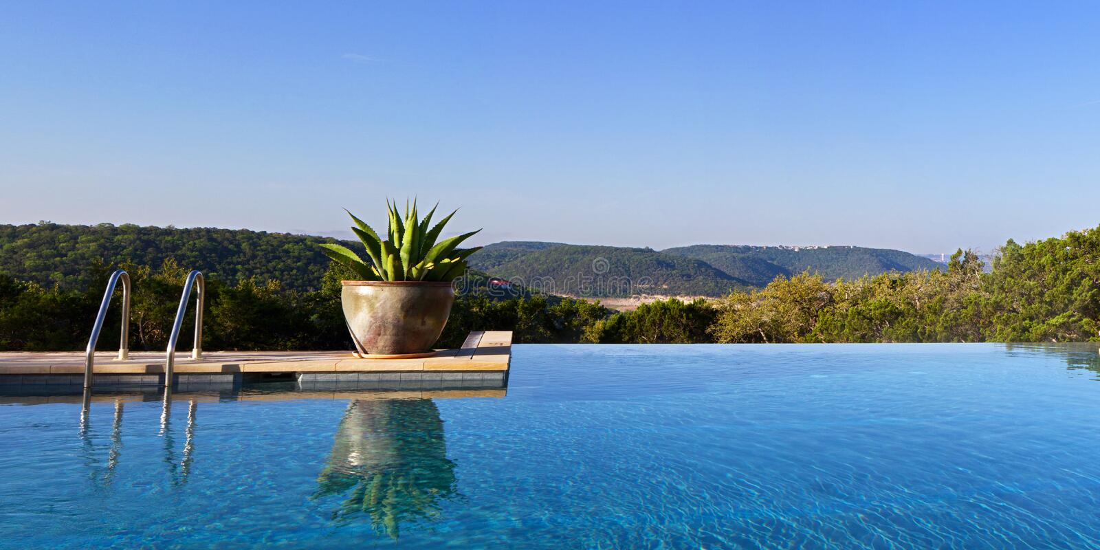 Infinity pool. In Texas Hill Country setting stock images