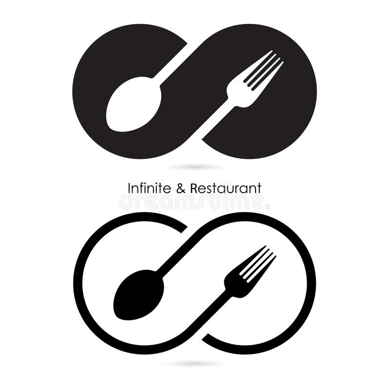 Infinity & restaurant icon.Food & infinity icon.Fork & spoon. Icon.Business or food and drink concept.Vector illustration stock illustration