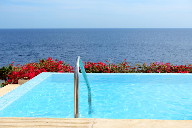 The Infinity Sea View Swimming Pool With Jacuzzi Stock Photo