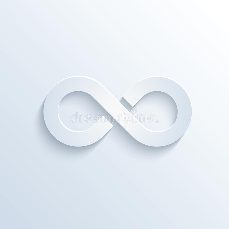 Infinity sign with shadow stock illustration