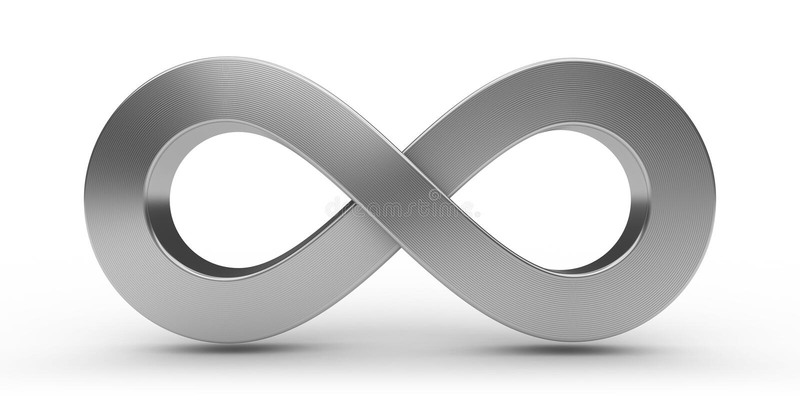 Infinity Sign. Stylish Metallic 3D infinity sign stock illustration
