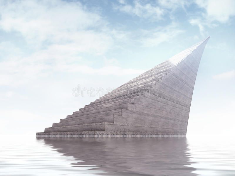 Infinity staircase monument rising from the water royalty free illustration