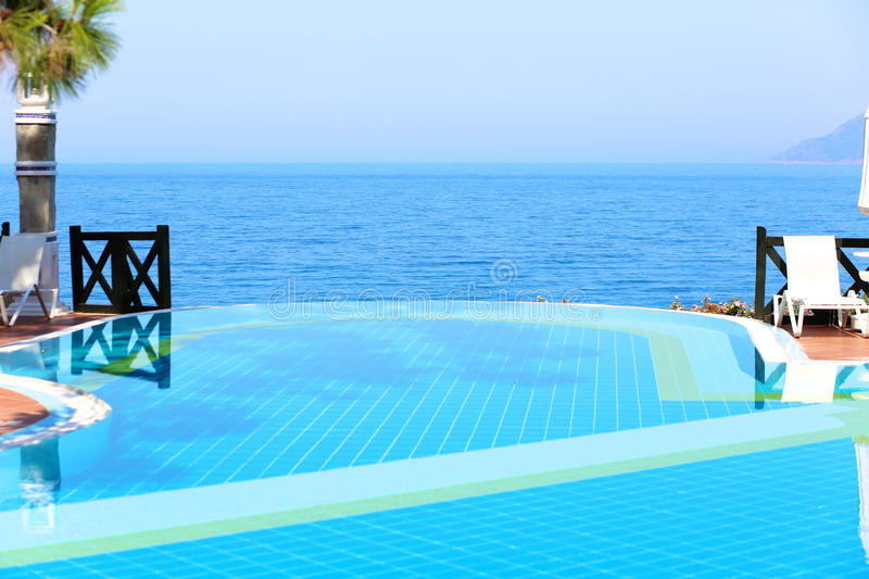 Infinity Swimming Pool In Luxury Hotel Or Villa Stock