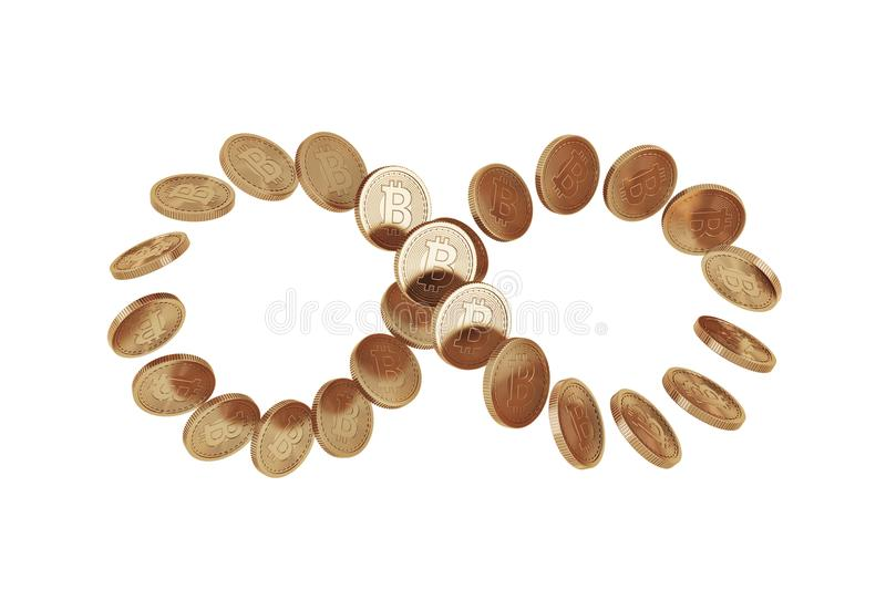 Infinity symbol made of bitcoins, white. Infinity symbol constructed of shiny new bitcoins. Concept of cryptocurrency and future economic prospects. A white royalty free stock photo
