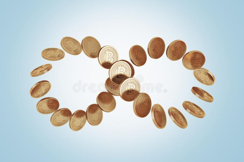 Infinity symbol made of bitcoins, blue. Infinity symbol constructed of shiny new bitcoins. Concept of cryptocurrency and future economic prospects. A blue stock photo