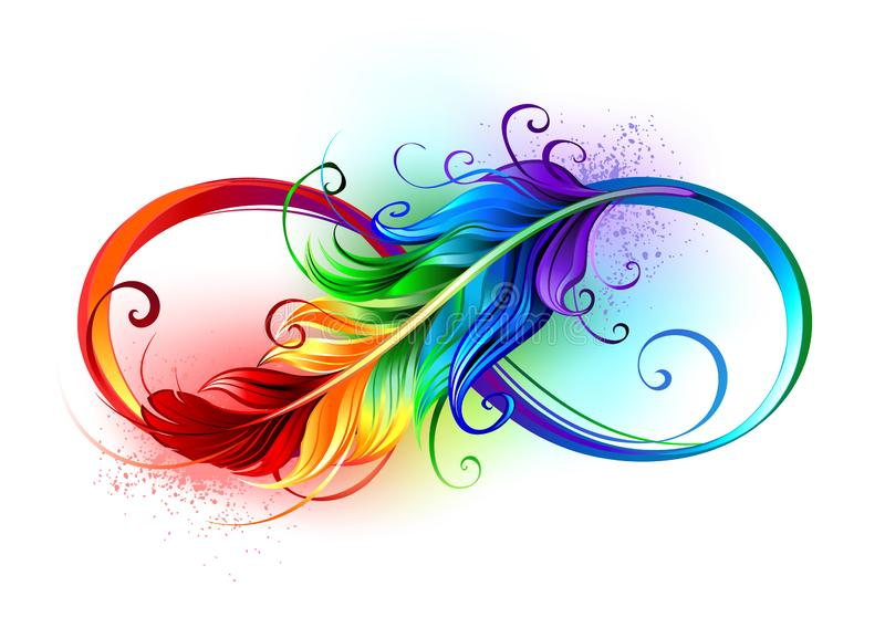 Infinity symbol with rainbow feather. Artistically drawn infinity symbol with beautiful rainbow feather on white background. Tattoo style stock illustration