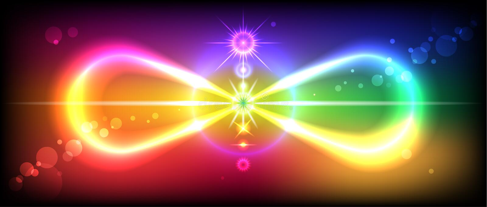 Infinity. Symbol or sign of infinity with the image of the chakras on the beautiful, colorful background vector illustration