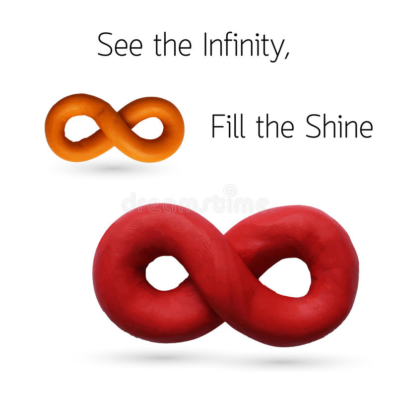 Infinity. Two Infinity signs for use in your design products. Vector illustration. Plasticine modeling royalty free illustration