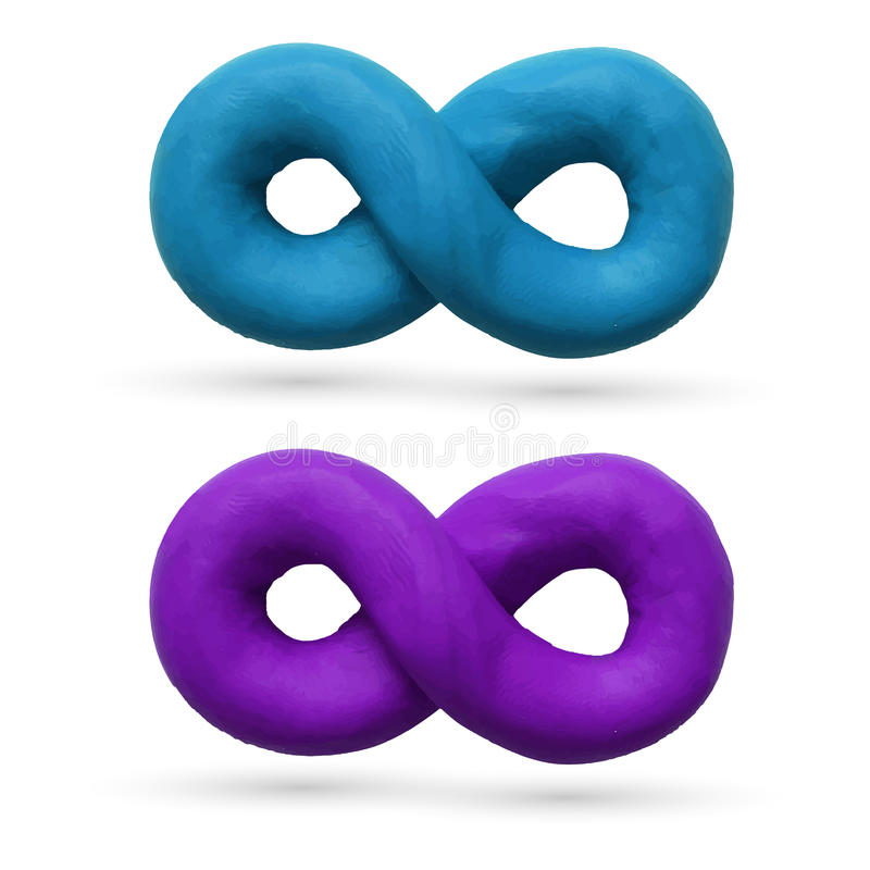 Infinity. Two Infinity signs for use in your design products. Vector illustration. Plasticine modeling vector illustration