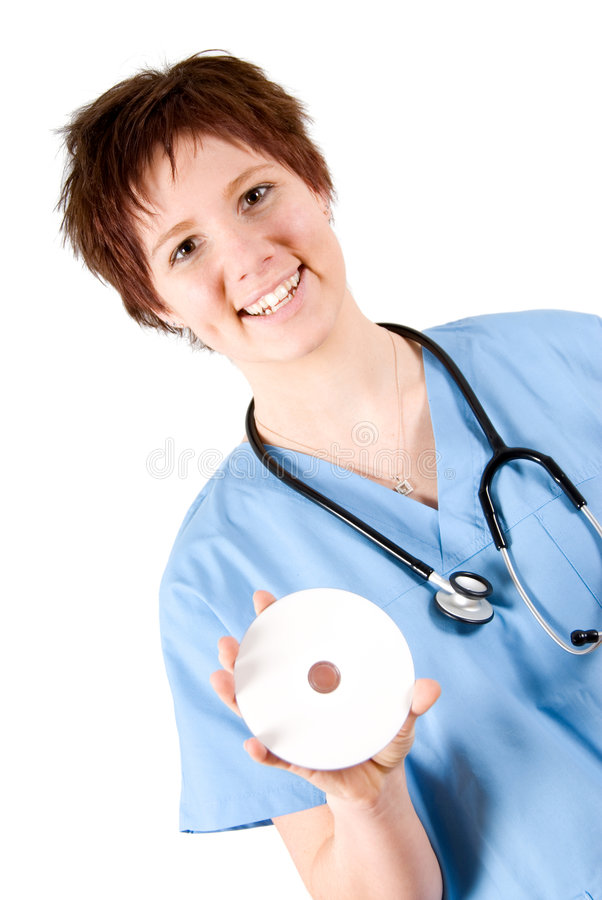 Infirmière avec DVD images libres de droits