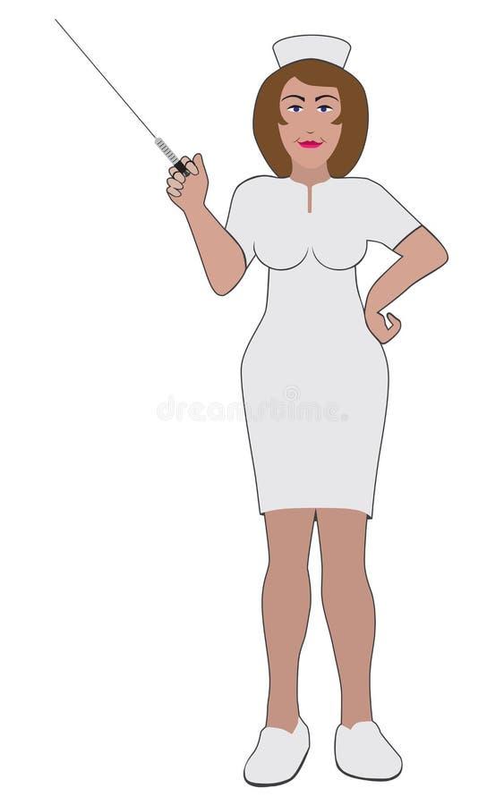Infirmière avec la grande seringue illustration libre de droits