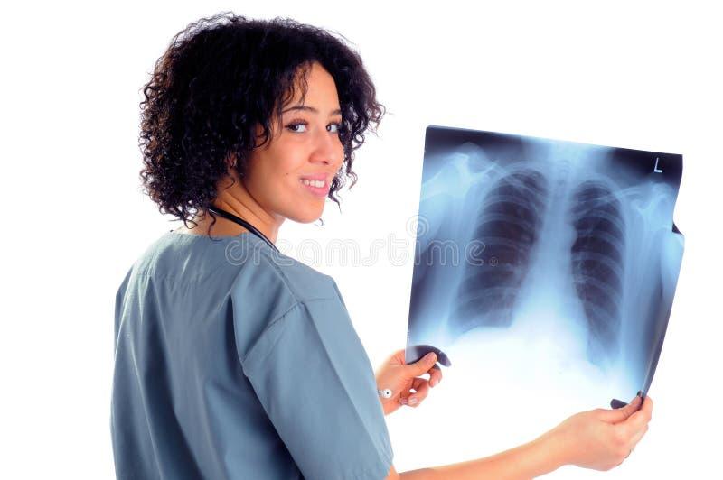 Infirmière avec le rayon X image libre de droits