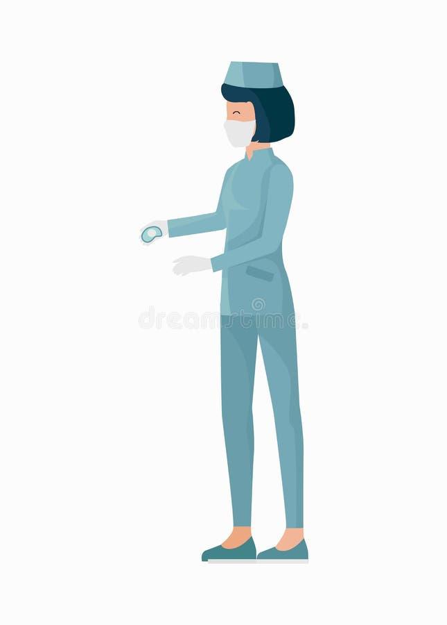 Infirmière dans l'illustration uniforme bleue de vecteur d'icône illustration libre de droits