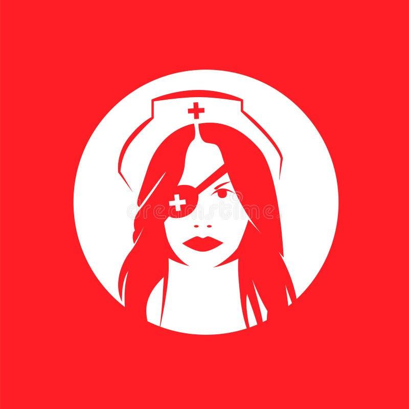 Infirmière de danger sur le fond rouge, Kill Bill illustration libre de droits