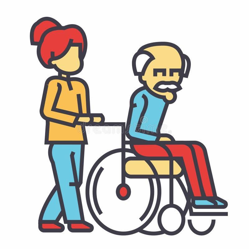 Infirmière de jeune femme flânant avec un homme plus âgé dans le fauteuil roulant, concept social d'aide illustration de vecteur