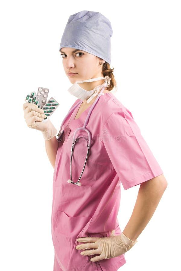 Infirmière de jeunes dans l'uniforme photographie stock libre de droits