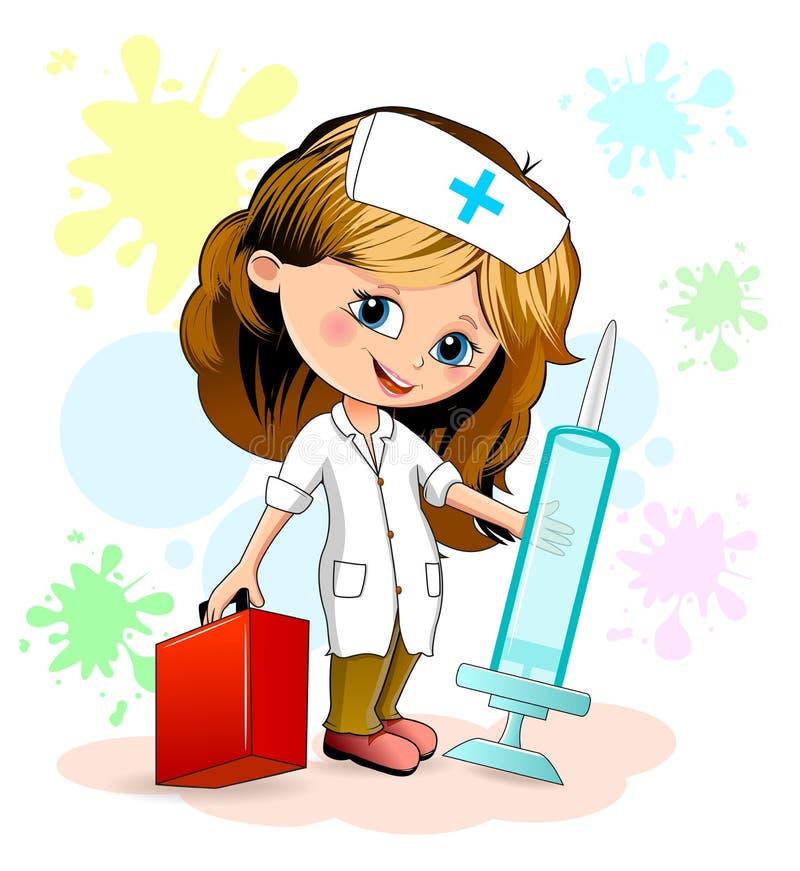 Infirmière de petite fille illustration stock