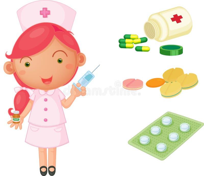 Infirmière et médecine illustration de vecteur